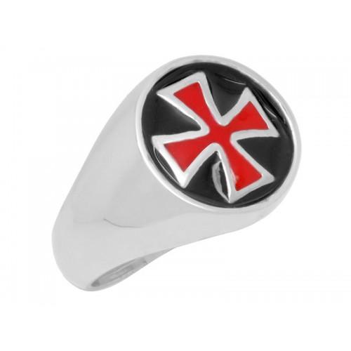 Δαχτυλίδι Ναϊτών Ιπποτών σε λευκόχρυσο με κόκκινο και μάυρο σμάλτο