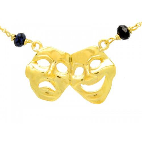 κολιέ με τις μάσκες από την κωμωδία και το δράμα ένα αρχαίο ελληνικό κόσμημα σε κίτρινο χρώμα με μαύρες ορυκτές πέτρες