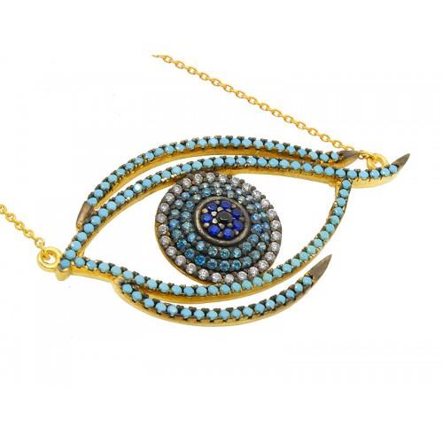 Κολιέ μάτι από χρυσό η ασήμι με τουρκουάζ πέτρες