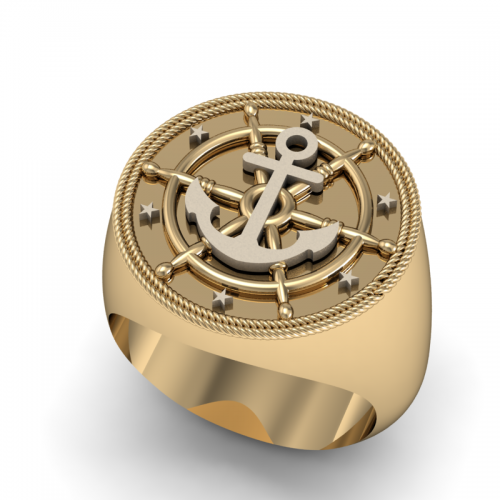 Ασημένιο δαχτυλίδι οβάλ με το σήμα της άγκυρας σε κίτρινο χρώμα