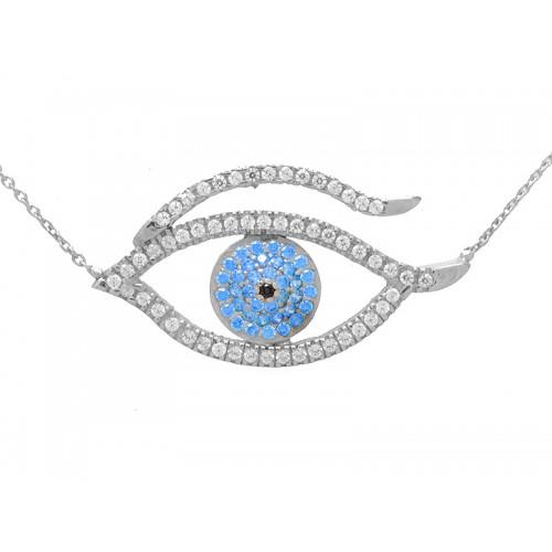 Λευκό κολιέ μάτι με γαλάζιες, μάυρες και λευκές πέτρες ζιργκόν