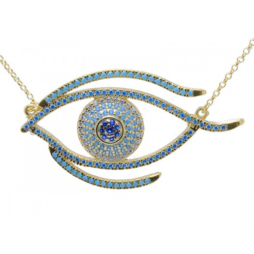 Κίτρινο κολιέ μάτι με γαλάζιες, μπλε και λευκές πέτρες ζιργκόν