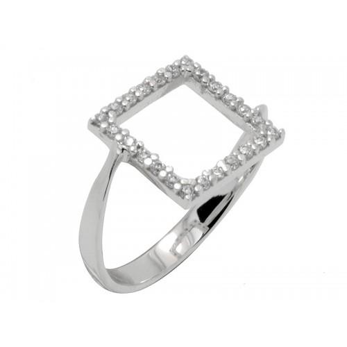 Γυναικείο λευκό δαχτυλίδι με λευκές πέτρες ζιργκόν