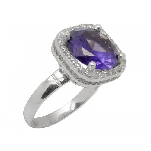 Γυναικείο λευκό δαχτυλίδι με μωβ πέτρα ζιργκόν και λευκές πέτρες ζιργκόν