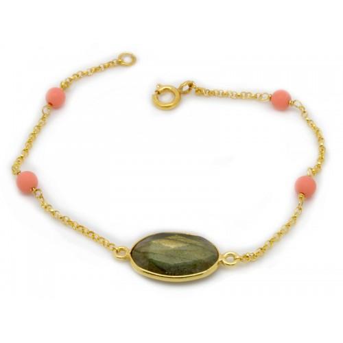 Βραχιόλι με πράσινη ορυκτή πέτρα και ροζ ορυκτές πέτρες
