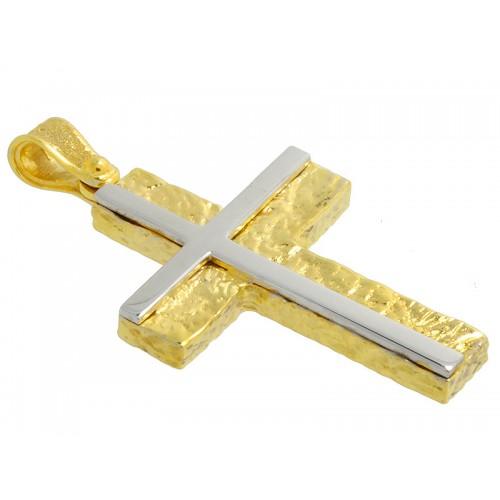 Σταυρός ανδρικός λευκός και κίτρινος βαπτιστικός