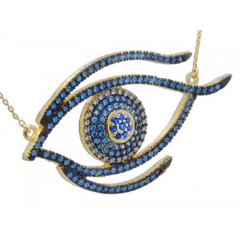Κίτρινο κολιέ μάτι με γαλάζιες, οινοπνευματί, μάυρες, μπλε και λευκές πέτρες ζιργκόν