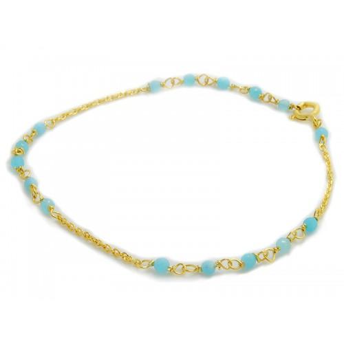 Βραχιόλι κιτρινο με γαλάζιες πέτρες τζέιντ