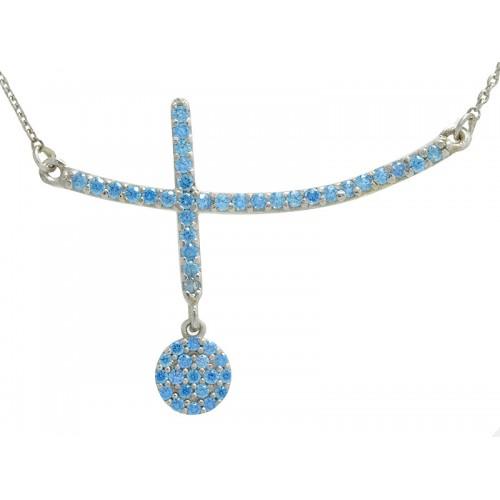 Σταυρός κολιέ παράλληλος λευκός γυναικείος με γαλάζιες πέτρες ζιργκον