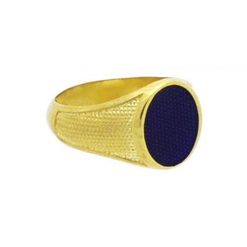 Δαχτυλίδι ανδρικό σεβαλιέ με μπλε σμάλτο στρογγυλό