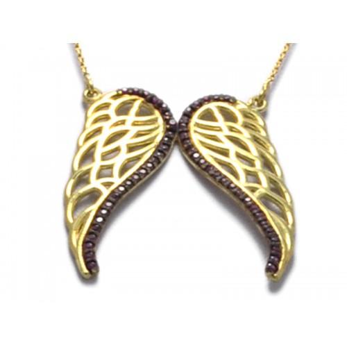 Kολιέ με φτερά αγγέλων σε κίτρινο  χρώμα και  κόκκινες πέτρες