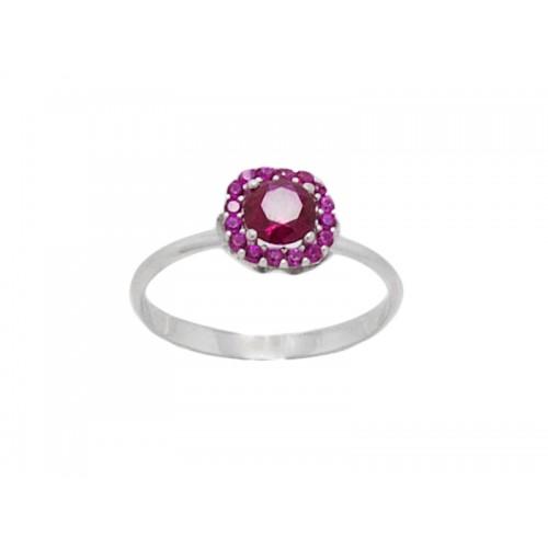 Γυναικείο λευκό δαχτυλίδι  με κόκκινη πέτρα στο κέντρο