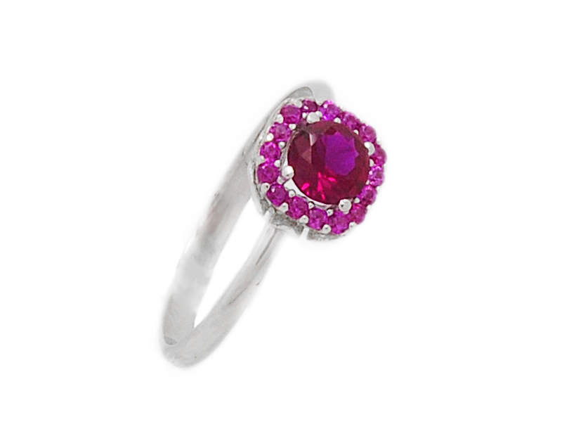 ... Γυναικείο λευκό δαχτυλίδι με κόκκινη πέτρα στο κέντρο 08310aca928
