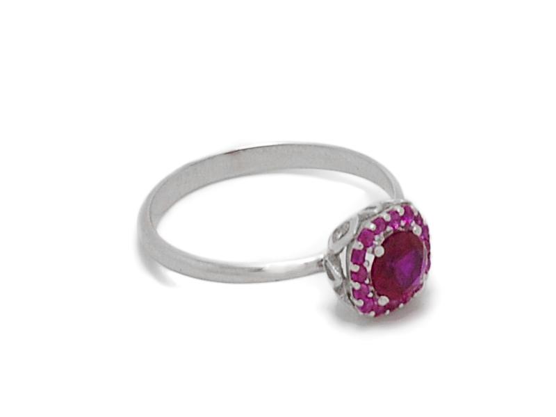 ... Γυναικείο λευκό δαχτυλίδι με κόκκινη πέτρα στο κέντρο ... 9465714cbf3