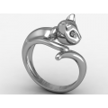 Γυναικείο λευκό δαχτυλίδι γάτα