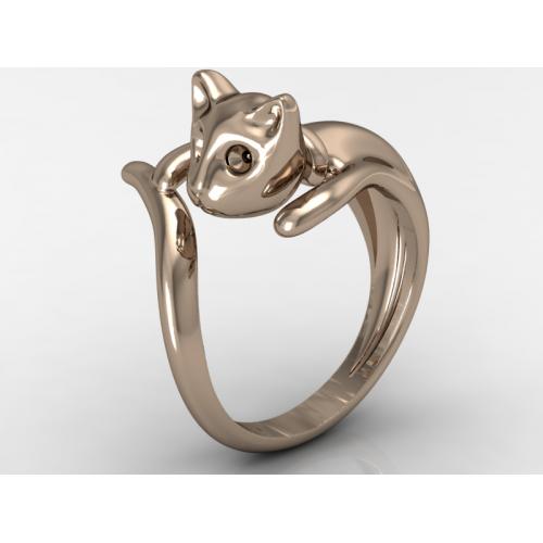 Γυναικείο χρυσό δαχτυλίδι γάτα σε ροζ χρώμα
