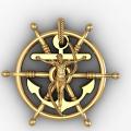 Κρεμαστό Εσταυρωμένος με τμόνι και αγκυρα δεμένη με σχοινί σε κίτρινο χρωμα