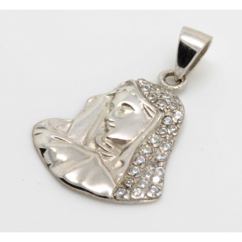 Μαντόνα ''Παναγία'' κρεμαστό με άσπρες πέτρες σε λευκό χρώμα