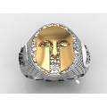 Δαχτυλίδι με περικεφαλαία αρχαίου Ελληνικού τύπου σε λευκόχρυσο και κίτρινο χρυσό
