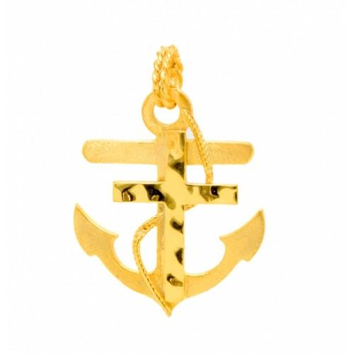 Σταυρός άγκυρα δεμένη με σχοινί σε κίτρινο χρώμα
