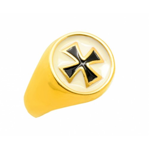 Δαχτυλίδι Ναϊτών Ιπποτών σε κίτρινο χρυσό με μάυρο και άσπρο σμάλτο