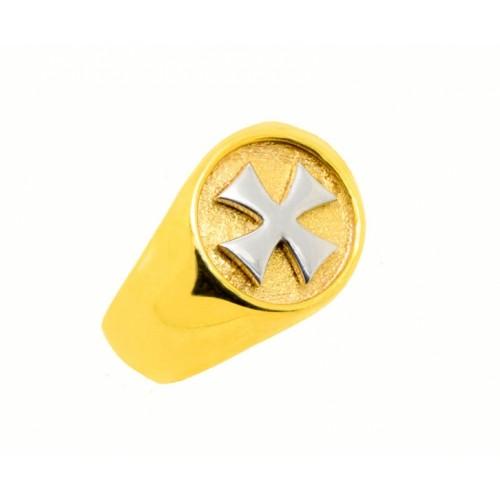 Δαχτυλίδι Ναϊτών Ιπποτών σε λευκόχρυσο και κίτρινο χρυσό