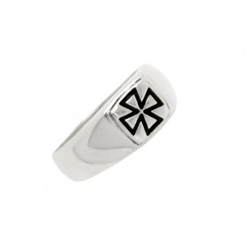 Δαχτυλίδι Ναϊτών Ιπποτών σε λευκόχρυσο με μάυρο σμάλτο