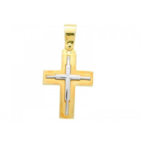 10205 / 14 καράτια, κόκκινο, χρυσό, λευκόχρυσο, σταυρός, γυναικείος Σταυροί