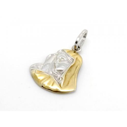 Μαντόνα ''Παναγία'' κρεμαστό με άσπρες πέτρες σε λευκό και κίτρινο χρώμα