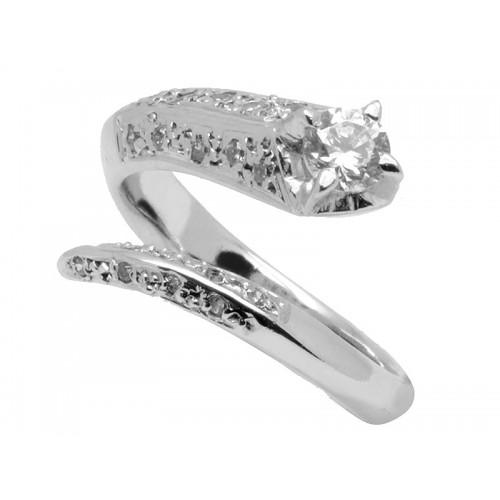 Μονόπετρο δαχτυλίδι στα 14 καράτια με ζιργκον πέτρα σε λευκόχρυσο
