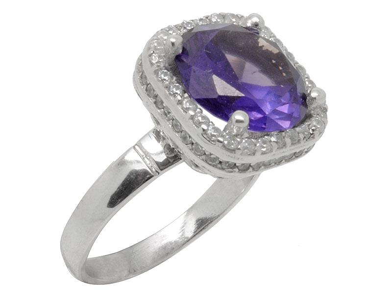 Γυναικείο λευκό δαχτυλίδι με μωβ πέτρα ζιργκόν και λευκές πέτρες ζιργκόν f85c09610be