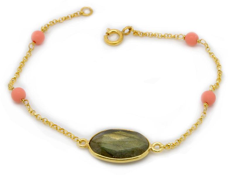 Βραχιόλι με πράσινη ορυκτή πέτρα και ροζ ορυκτές πέτρες 7ae0d757458