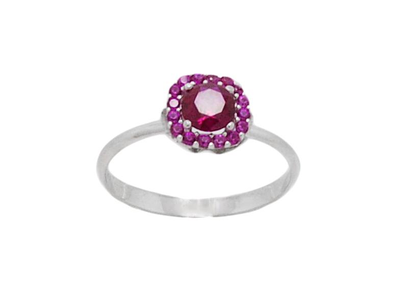 Γυναικείο λευκό δαχτυλίδι με κόκκινη πέτρα στο κέντρο 8ba0e5bc49d